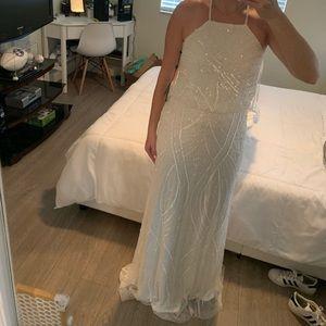 Adrianna Papell Ivory Halter Beaded Dress